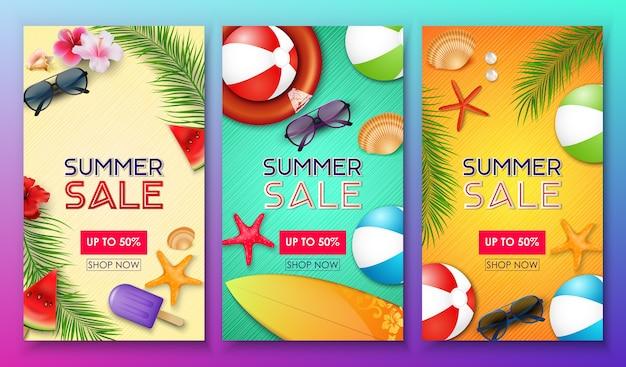 Conjunto de modelo de banner de venda de verão
