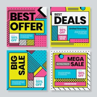 Conjunto de modelo de banner de venda em tamanho quadrado, estilo moderno