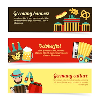 Conjunto de modelo de banner de viagens alemanha
