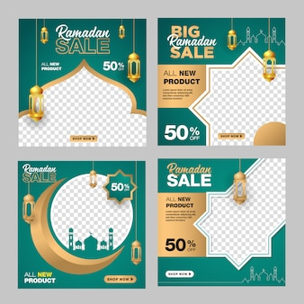 Conjunto de modelo de banner editável ramadan venda. com fundo de lua, mesquita e lanterna de ornamento.