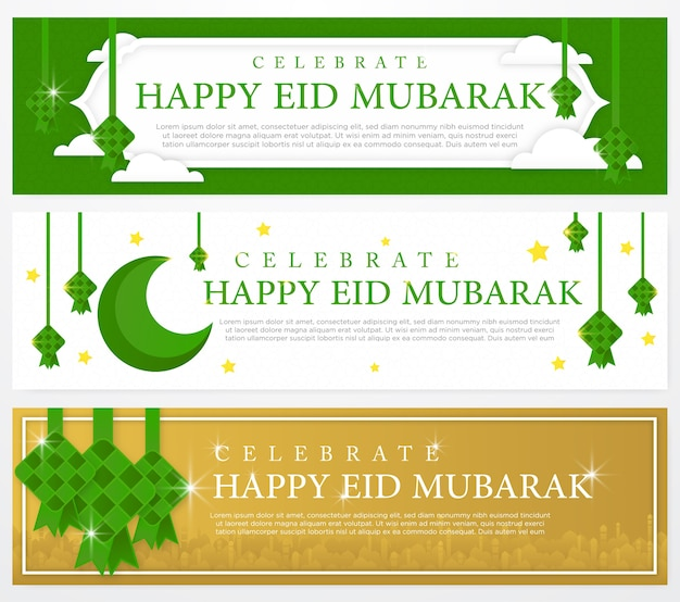 Conjunto de modelo de banner eid mubarak