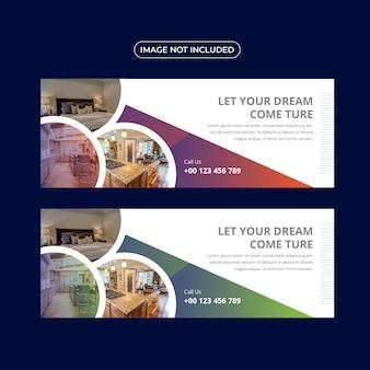 Conjunto de modelo de banner imobiliário