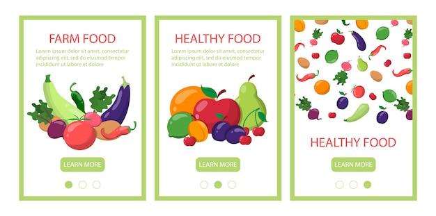 Conjunto de modelo de banner web móvel de comida saudável.
