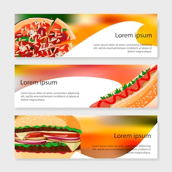 Conjunto de modelo de banners de fast-food.