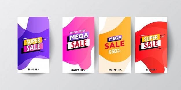 Conjunto de modelo de banners de venda móvel fluido moderno