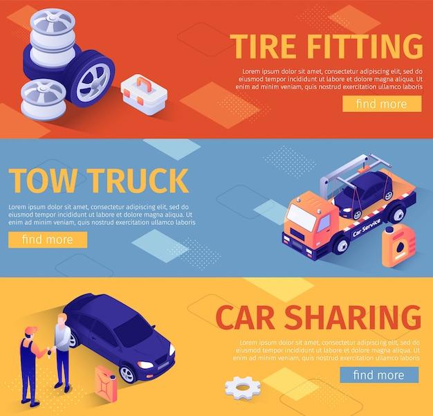 Conjunto de modelo de banners para assistência automóvel e montagem de pneus