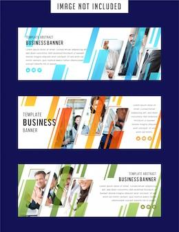 Conjunto de modelo de banners web branco com elementos diagonais para uma foto.