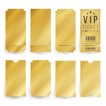 Conjunto de modelo de bilhete dourado vip
