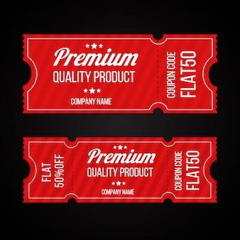 Conjunto de modelo de bilhetes de código de cupons de produtos de qualidade premium