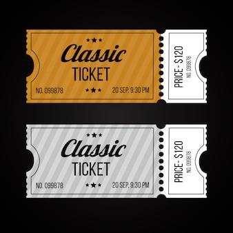 Conjunto de modelo de bilhetes de papel e papelão retrô