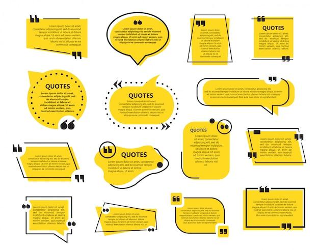 Conjunto de modelo de bolhas de citação em um design plano