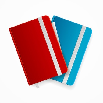 Conjunto de modelo de caderno em branco com banda elástica e marcador. vermelho e azul