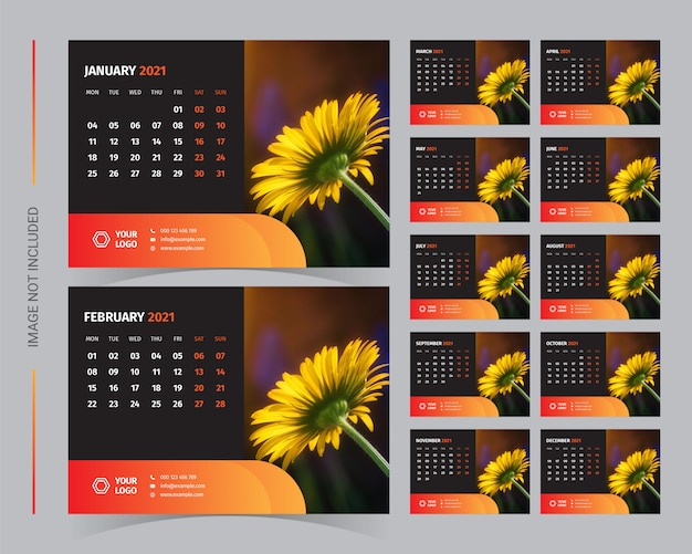 Conjunto de modelo de calendário de mesa 2021