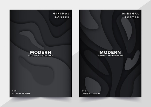 Conjunto de modelo de capa no design de estilo de corte de papel preto