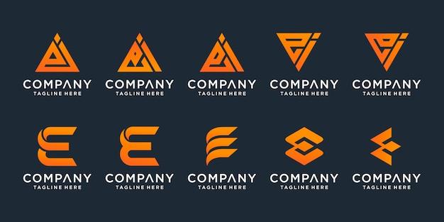 Conjunto de modelo de carta criativa ei. ícones para negócios de luxo, elegante e simples.