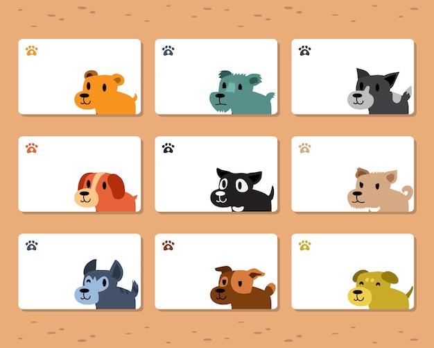 Conjunto de modelo de cartão de cães dos desenhos animados