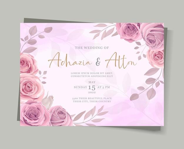 Conjunto de modelo de cartão de casamento elegante com decoração floral desenhada à mão