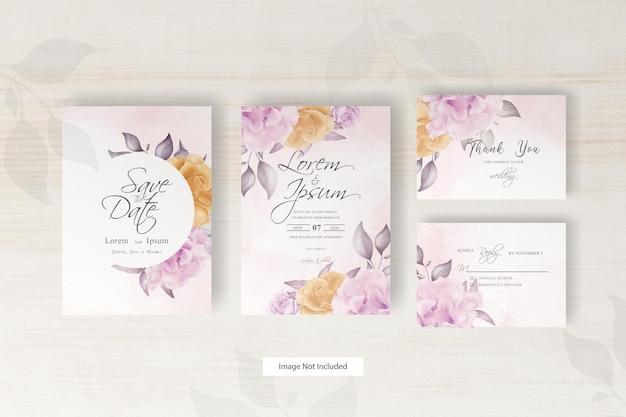 Conjunto de modelo de cartão de casamento em aquarela com ilustração de flores e flores de decoração de folhas