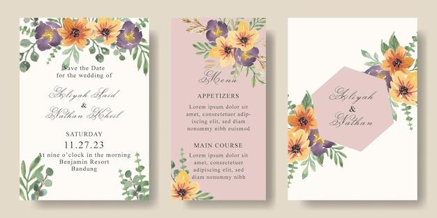 Conjunto de modelo de cartão de convite de casamento amarelo roxo floral aquarela