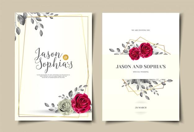 Conjunto de modelo de cartão de convite de casamento aquarela vintage