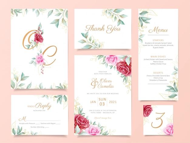 Conjunto de modelo de cartão de convite de casamento com flores elegantes e decoração de ouro