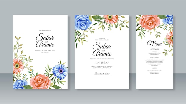 Conjunto de modelo de cartão de convite de casamento com flores em aquarela