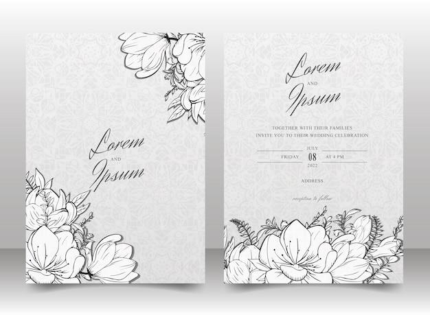 Conjunto de modelo de cartão de convite de casamento com fundo floral e sem costura de mão desenhada