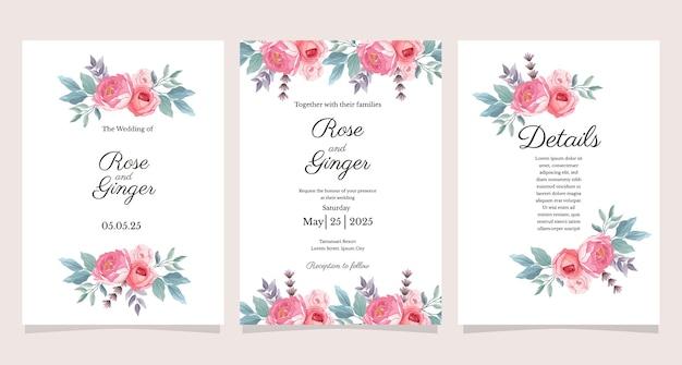 Conjunto de modelo de cartão de convite de casamento com tema de flores