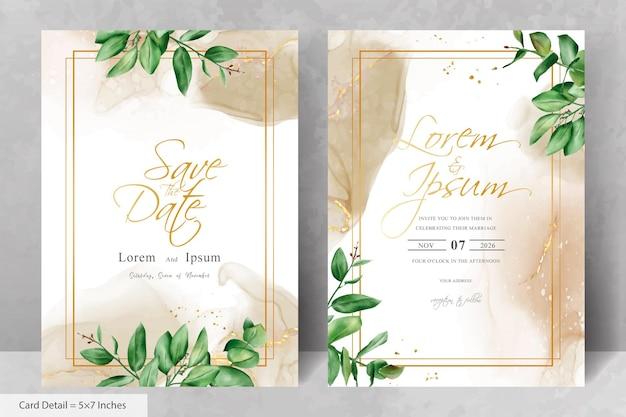 Conjunto de modelo de cartão de convite de casamento de flor elegante e moldura de eucalipto