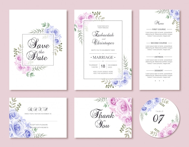 Conjunto de modelo de cartão de convite de casamento de flor