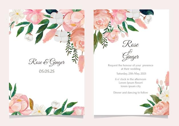 Conjunto de modelo de cartão de convite de casamento de flores em aquarela