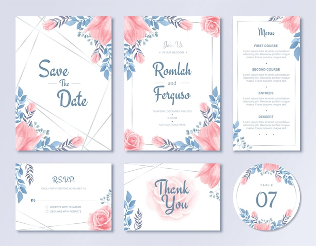 Conjunto de modelo de cartão de convite de casamento de luxo aquarela estilo de flores florais com menu de rsvp e número de mesa