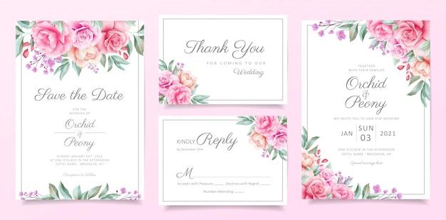 Conjunto de modelo de cartão de convite de casamento de vegetação de fronteira de arranjos florais