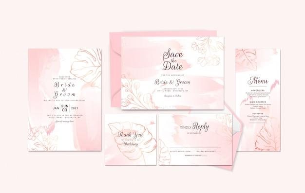 Conjunto de modelo de cartão de convite de casamento dourado com contorno floral e pincelada aquarela.