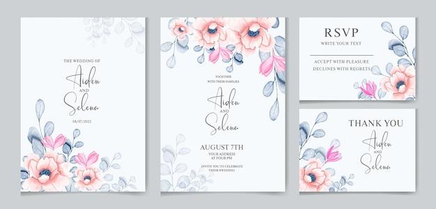 Conjunto de modelo de cartão de convite de casamento em aquarela com algumas folhas botânicas e flores rosa suaves