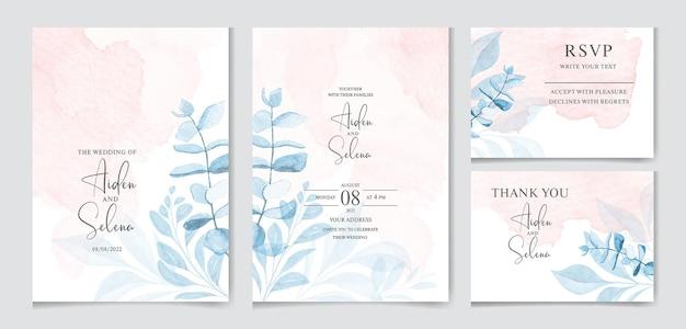 Conjunto de modelo de cartão de convite de casamento em aquarela com respingos e folhas