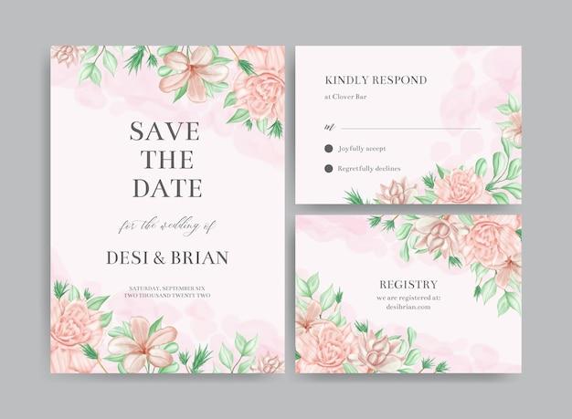 Conjunto de modelo de cartão de convite de casamento em aquarela com rosa e folhas coloridas