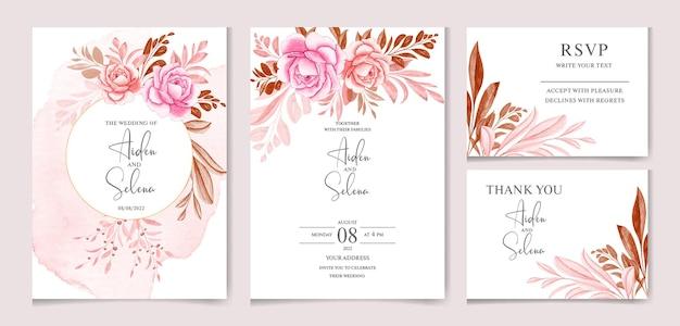 Conjunto de modelo de cartão de convite de casamento em aquarela com rosa suave e folhas cor de vinho
