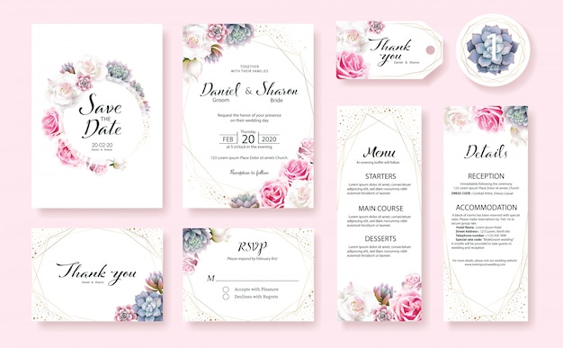 Conjunto de modelo de cartão de convite de casamento. flor rosa, plantas suculentas.