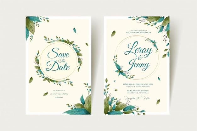 Conjunto de modelo de cartão de convite de casamento floral com flores rosas e folhas