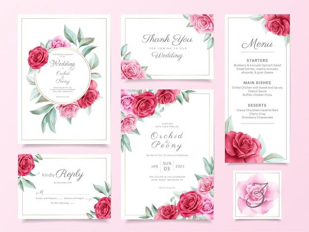 Conjunto de modelo de cartão de convite de casamento floral com rosas vermelhas e roxas e folhas