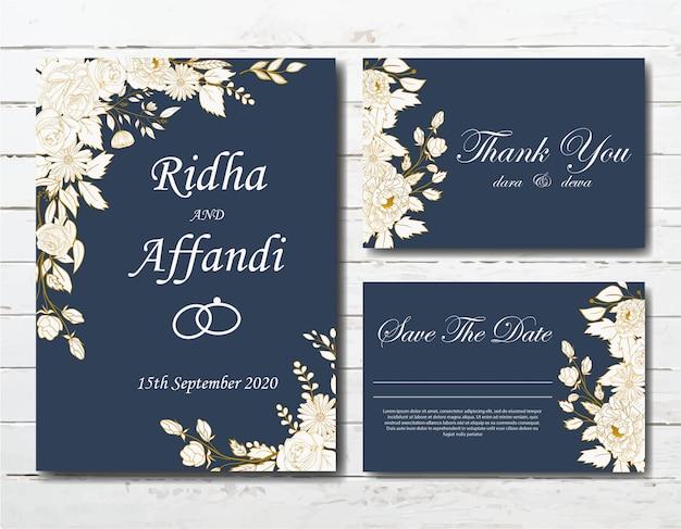 Conjunto de modelo de cartão de convite de casamento floral elegante mão desenhada