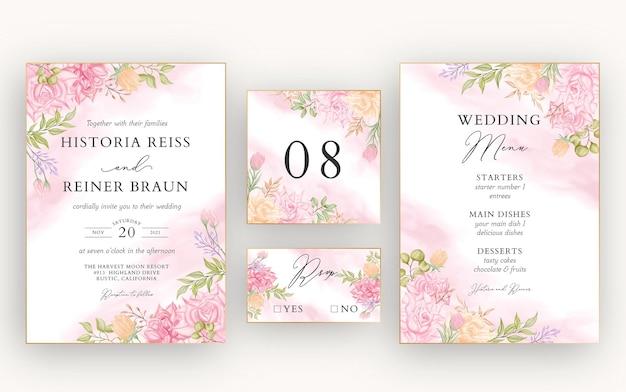 Conjunto de modelo de cartão de convite de casamento floral em aquarela lindo