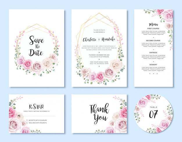 Conjunto de modelo de cartão de convite de casamento floral em aquarela