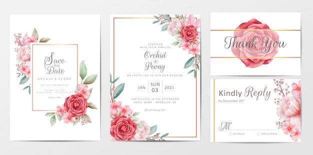 Conjunto de modelo de cartão de convite de casamento flores vintage