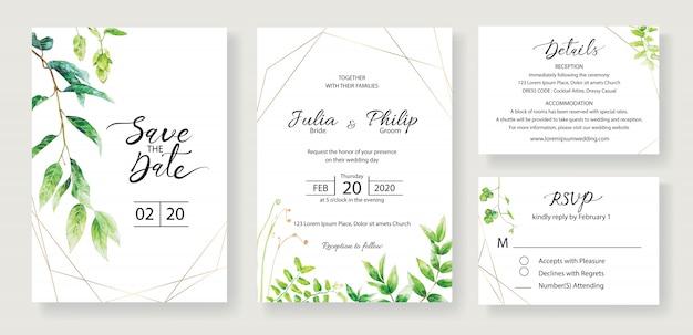 Conjunto de modelo de cartão de convite de casamento. vegetação.