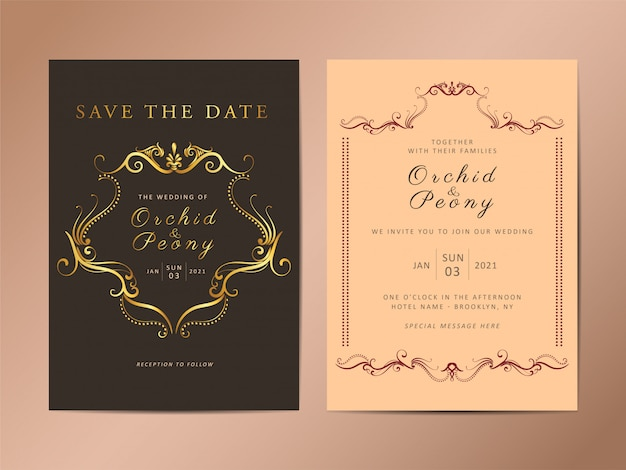 Conjunto de modelo de cartão de convite de casamento vintage