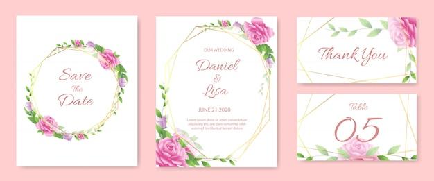 Conjunto de modelo de cartão de convite de casamento