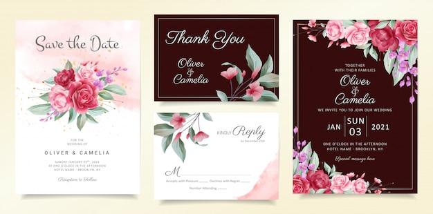Conjunto de modelo de cartão de convite de flores de buquê floral e fronteira de flores