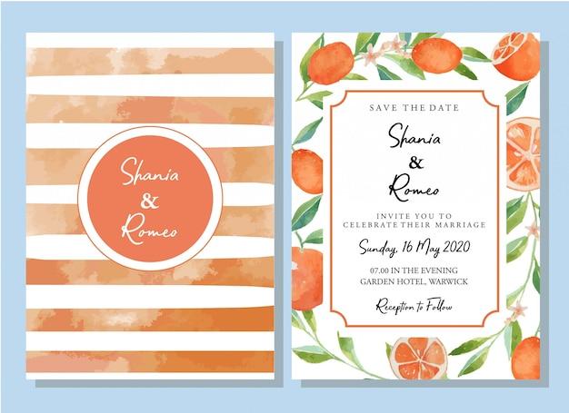 Conjunto de modelo de cartão de convite de laranja kumquats citrinos em aquarela